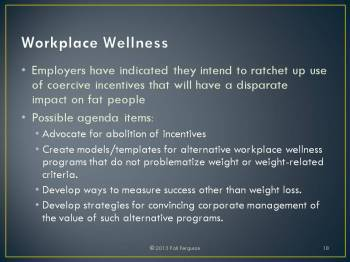 Suggested workplace wellness agenda items for the HAES® community