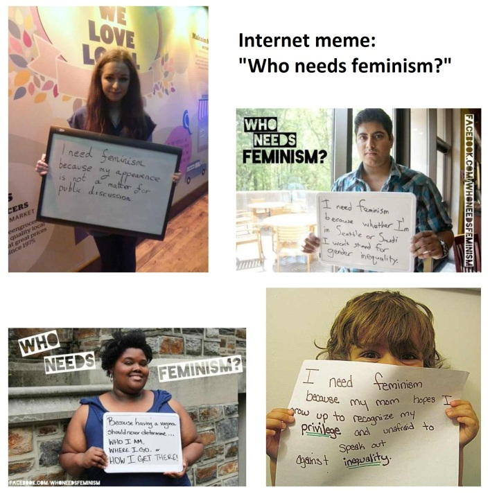 collage of feminism memes
